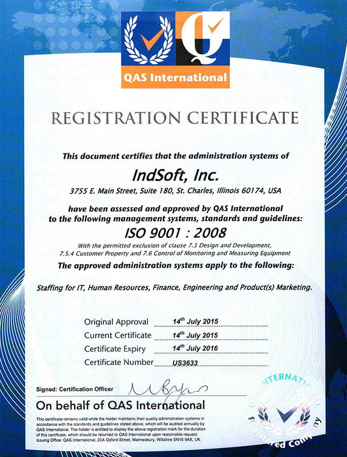 IndSoft ISO Certificate